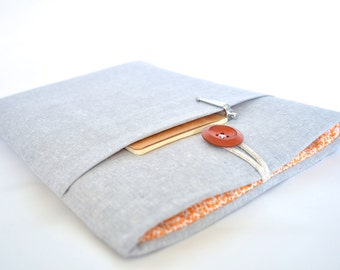 "Kindle Sleeve, Kindle Case, Amazon Fire HD 8, Fire 7"" Sleeve, Kindle Paper white Cover - Gray Linen"