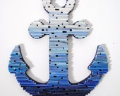 Anchor wall art-blue ombré gradient-made from recycled magazine, nautical, ocean, coastal, boating, water, waves, beach