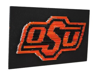 Officially licensed Oklahoma State University logo - 6x10 wall hanging- made from recycled magazines, black, modern, art, college