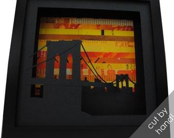 Brooklyn Bridge SUNSET shadowbox- made from recycled magazines, New York, bridge, Brooklyn