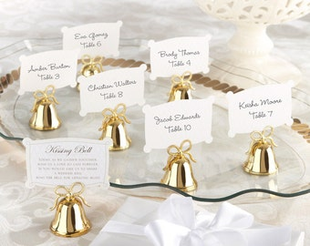 Gold Kissing Bells Wedding Place Card Holder  (Set of 24) decor, reception, party