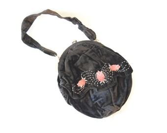Vintage Black Velvet Evening Bag with pink beaded flowers