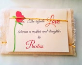 Linen gift bag for jewelry or small items, gift card, jewelry presentation box, personalized custom greeting card, mother, daughter,wife
