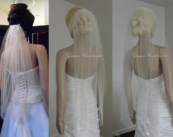 Wedding Veil Single Tier Pencil Edge Sheer Waist Length, Bridal Veil PE33X50