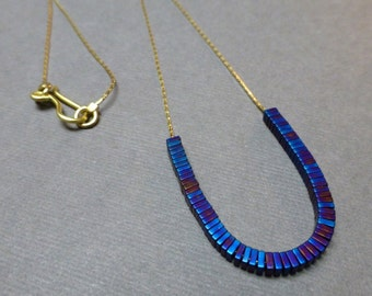 Titanium Hematite Necklace. Silver Plated Chain. Beaded Necklace. Cobalt Blue. 3mm. Courage Necklace. Handmade Necklace.
