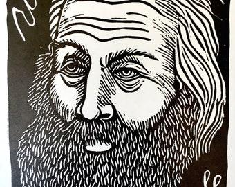 Walt Whitman   Limited Edition Linoleum Relief Print