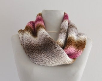 Ombre Scarf Cowl Neckwarmer Warm Cozy Soft Pink Brown White Shades