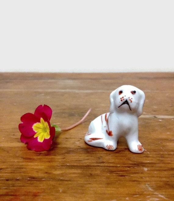 Vintage Miniature Dog Figurine - Bone China Ceramic Animal - Made in Japan