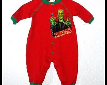 Boys Rockabilly Red Onsie with Frankenstein Print Size new born 0-3 months