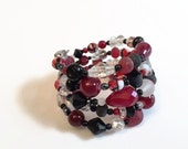 CLEARANCE SALE Memory Wire Bracelet, Red Bracelet, Wrap Bracelet