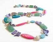 On Sale Bright Colorful Long Shell Necklace, Pastels, Summer Necklace Earring Set