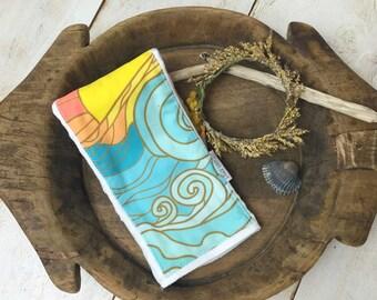 Baby Burp Cloth Surf - Ocean - Waves - Sun - Retro Burp Cloth Burpie - Boutique Baby Gift - Layette Gift - Hawaii Baby - Gender N