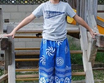 Hippie  Pants- Blue spiral- Size 7-8 - Capris for older child