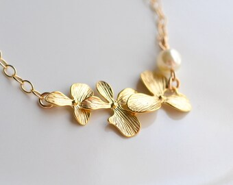 Bridal Jewelry Triple Orchid Gold Wedding Bracelet