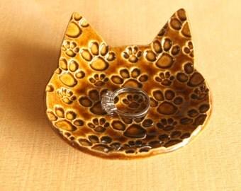 Ceramic CAT PAW Prints Ring Dish - Handmade Amber Porcelain Cat Ring Dish / Tea Bag Holder - Ready To Ship