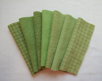 GREEN APPLE Hand Dyed Felted Wool Fabric bundle 7-8 x 5-6 for Wool Applique, Penny Rugs, Quilting, Sewing