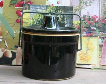 Awesome Brownish Black Cheese or Butter Stoneware Crock with Lid