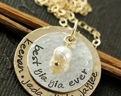 ON SALE Hand Stamped Necklace, Personalized Jewelry,  Gold and Silver Necklace, Grandma Necklace