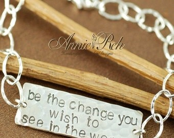 ON SALE Bracelet | Hand Stamped Sterling Silver ID Bracelet, Personalized Bracelet, Id Style Bracelet, Be the change