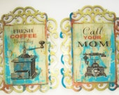 Wall Hanging, Wall Decor, Home Decor, Shabby, Rustic, Coffee Grinder, Telephone, Vintage, Antique, Sage, Teal, Gifts for Her, Gifts for Him
