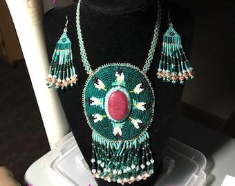 Hand beaded gemstone rosette necklace