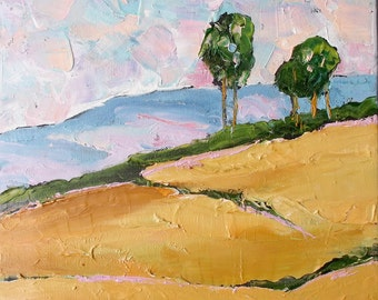 Impressionist California Coastal Hills Eucalyptus Plein Air Landscape Oil Painting Original Art Lynne French 11x14