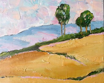 Impressionist California Coastal Hills Eucalyptus Plein Air Landscape Oil Painting Original Art Lynne French 11x14