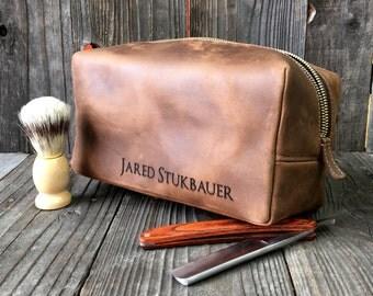 Mens Toiletry Bag - Leather Dopp Kit - Groomsmen Gift - Crazy Horse