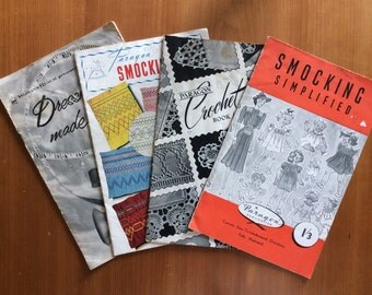 1940s & 50s vintage pattern books Smocking Crochet and Dressmaking Instruction booklets Mid Century to 50s