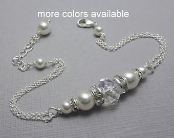 Maid of Honor Gift, Swarovski White Pearl Bracelet, Bridesmaid Gift, Wedding Bracelet, Bridal Bracelet, Personalized Bridesmaid Gift