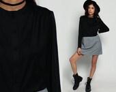 70s Dress Mini Mod PLUS Size Button Up Black Boho High Waisted 1970s Vintage Retro Long Sleeve Checkered Plain Bohemian Retro Extra Large xl
