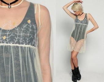 60s Babydoll Dress Mini SHEER 70s Floral Mesh EMBROIDERED Bohemian 1960s White Vintage Boho Empire Waist 3/4 Sleeve Minidress Small xs xxs