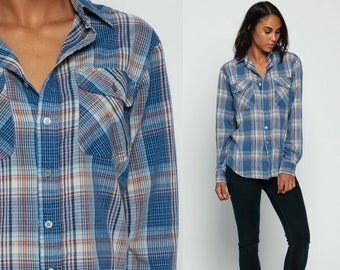 70s Plaid Shirt Cotton FLANNEL Grunge Checkered Blue Lumberjack 1970s Vintage Button Up Top Pocket Long Sleeve Brown Retro Small