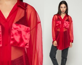 Sheer Blouse Chiffon Shirt 90s Grunge Button Up Shirt Red Satin Collar Top Romantic Vintage Long Sleeve Glam Clueless Medium