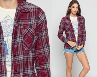 Plaid Shirt 90s Grunge Flannel Burgundy Red 1990s Lumberjack Long Sleeve Button Up Vintage Checkered Hipster Pocket Extra Small xs