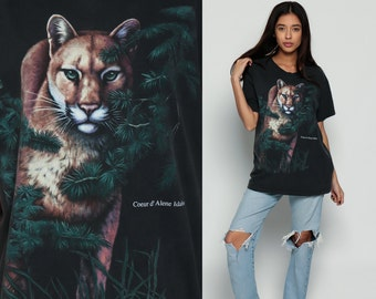 Cougar Shirt Animal T Shirt 80s Puma Vintage Retro Tshirt Graphic Print Wildlife Animal Wilderness Screen Print 1980s t shirt large