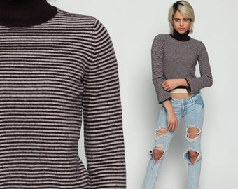 Funnel Neck Sweater 80s Striped Sweater Brown Cropped Grunge Knit Slouchy Pullover Turtleneck 1980s Vintage Cream Turtle Neck Small Medium