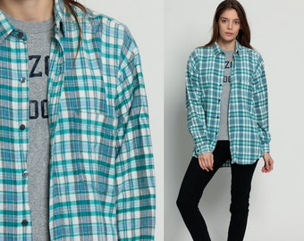 Grunge Flannel Shirt Green Plaid Shirt 80s Button Down Up White Blue Vintage Oversize Lumberjack Cotton Long Sleeve Retro Medium