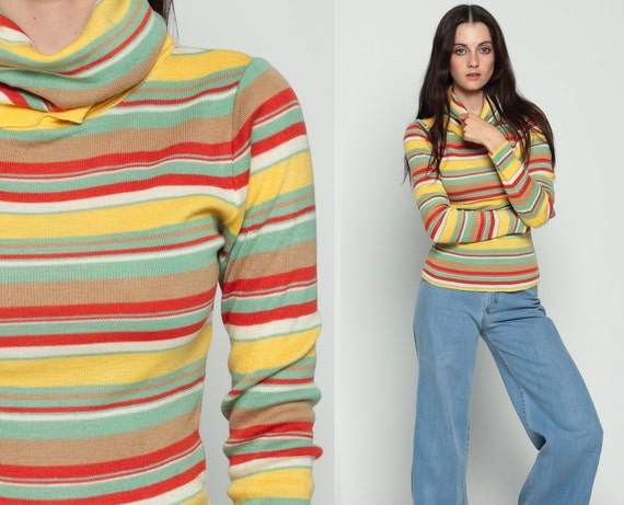 80s Sweater Turtleneck Striped Sweater Cowl Neck Grunge