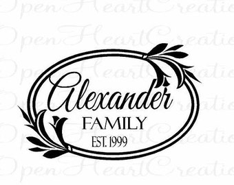 ON SALE Framed Family Name Wall Decal - Personalized Monogram Vinyl Wall Decal - 14 x 22 FN0003