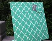 Magnetic Board, Desktop Organizer, Vision Board, Deskscape, Decorative Magnetic Board,  Quatrefoil Turquoise Fabric, Magnetic Board