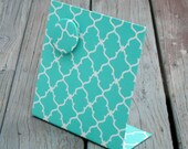 "Magnetic Board, Desktop Organizer, Vision Board, Decorative Magnetic Board,  Quatrefoil Turquoise Fabric, Magnetic Board, 11"" x 12"""