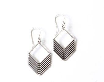 Eros earrings - recycled sterling silver diamond arrow shape dangles