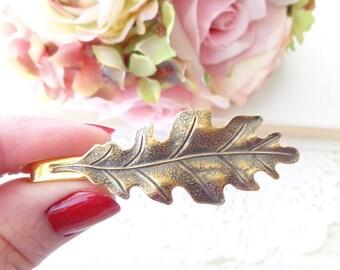Ox Brass Oak Leaf Tie Bar - Oak Leaf Tie Clip - Mens Tie Clip - Wedding Accessory - Groomsmen Leaf Tie Bar - Woodland Wedding - Autumn Leaf