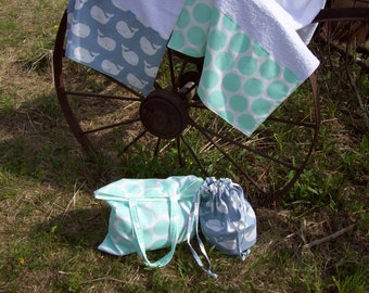 MINT DOT  Beach Towel,tote and ditty bag SET