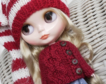 12'' Blythe Licca, Azone S, Pullip Doll Clothes - Sweater Cardigan red-vine-burgundy
