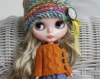 12'' Blythe Licca, Azone S, Pullip Doll Clothes - Sweater Cardigan orange