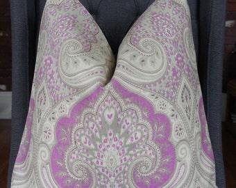 Purple Paisley Pillow Cover, Linen Decorative Pillow, Throw Pillow, Toss Pillow, Sofa Pillow, Purple Pillow, Home Furnishing, Home Decor