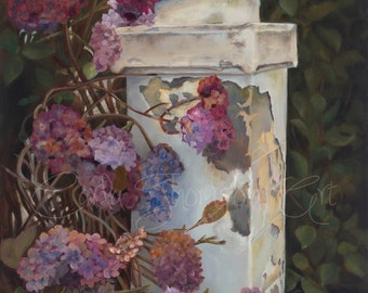 Original Oil Floral of Hydrangea on Driveway Post