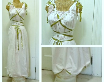 Midsummers Night Dream Dress Bridal Gown Ivory Renaissance Forest Rustic Fairy Pixie Custom Boho Corset Birdcage Hem